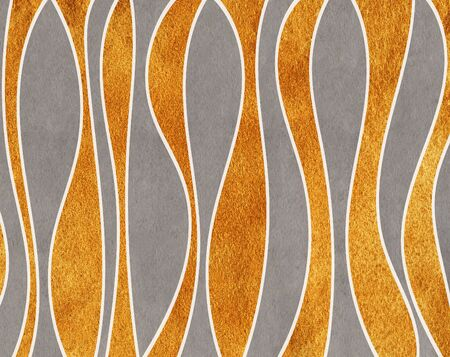 Watercolor gray and acryl golden striped background. Curved line pattern. Stock Photo