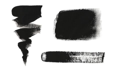 backdrop grungy: Collection of black gouache design elements isolated on white background. Collection of black grungy abstract hand-painted brush strokes. Black gouache splotches for logo and graphic backdrop.