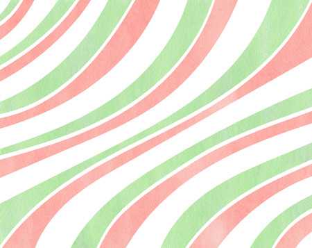 curved line: Watercolor light pink and mint green striped background. Curved line pattern. Stock Photo