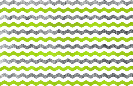 lime green: Abstract watercolor lime green and acryl silver wavy striped pattern.
