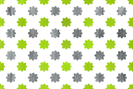lime green: Watercolor lime green and acryl silver flowers pattern. Stock Photo