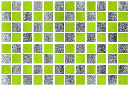 traditional silver wallpaper: Watercolor lime green and acryl silver square geometric pattern. Stock Photo