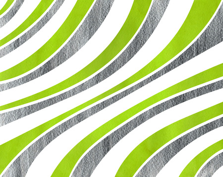 lime green: Watercolor lime green and acryl silver striped background. Curved line pattern.