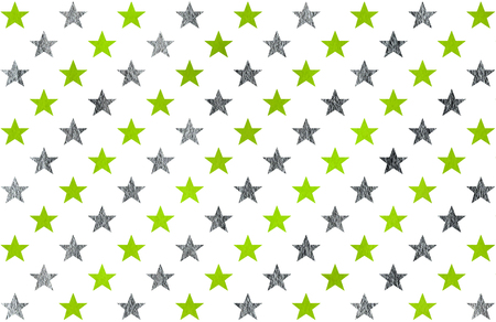 lime green: Watercolor pattern with lime green and acryl silver stars on white background. Stock Photo
