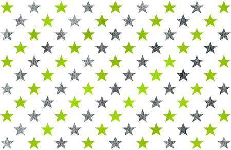 Waterverf het patroon met lime groen en acryl zilveren sterren op een witte achtergrond.
