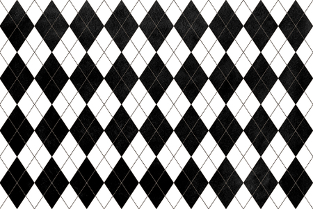 black diamond: Watercolor black diamond pattern. Geometrical traditional ornament for fashion textile, cloth, backgrounds.