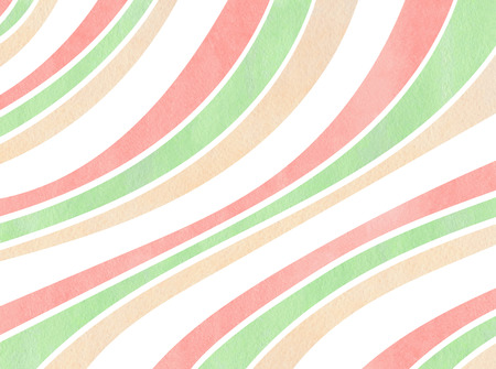 curved line: Watercolor light pink, beige and mint green striped background. Curved line pattern.