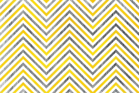 acryl: Watercolor yellow and acryl silver stripes background, chevron. Stock Photo