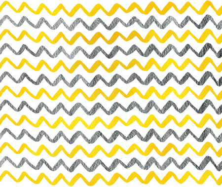 acryl: Watercolor yellow and acryl silver hand painted stripes pattern, chevron.