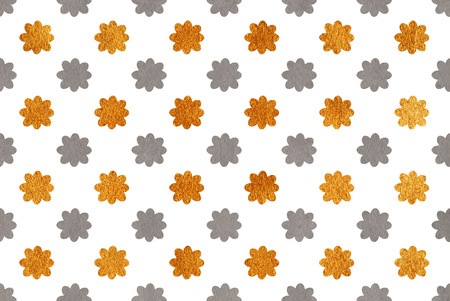 acryl: Watercolor gray and acryl golden flowers pattern.