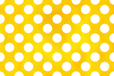 polkadot: Watercolor yellow polka dot background. Pattern with white polka dots for scrapbooks, wedding, party or baby shower invitations.