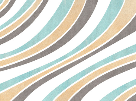 curved line: Watercolorblue, beige and gray striped background. Curved line pattern. Stock Photo