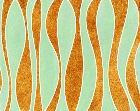 curved line: Watercolor mint green and acryl golden striped background. Curved line pattern.
