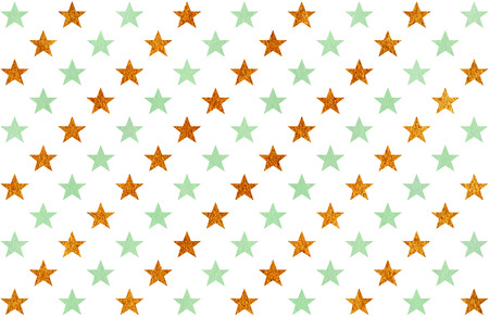 acryl: Watercolor pattern with mint green and acryl golden stars on white background.