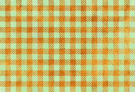 acryl: Watercolor mint green and acryl golden checked pattern. Geometrical traditional ornament for fashion textile, cloth, backgrounds.