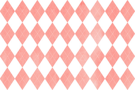 Watercolor light pink diamond pattern. Geometrical traditional ornament for fashion textile, cloth, backgrounds. Stock Photo
