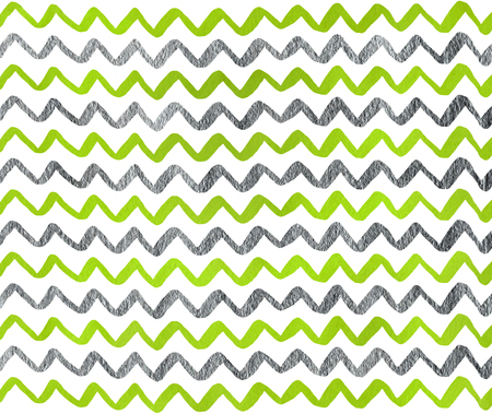 lime green: Watercolor lime green and acryl silver hand painted stripes pattern, chevron.