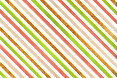 acryl: Watercolor lime green, salmon pink, beige and acryl golden striped background.