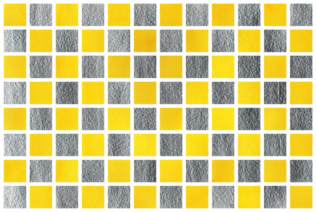 acryl: Watercolor yellow and acryl silver square geometric pattern.
