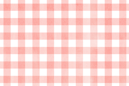 retro backgrounds: Watercolor light pink checked pattern. Geometrical traditional ornament for fashion textile, cloth, backgrounds. Stock Photo