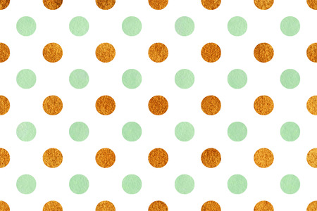 acryl: Watercolor mint green and acryl golden polka dot background. Pattern with black polka dots for scrapbooks, wedding, party or baby shower invitations.