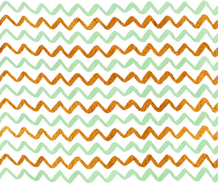 acryl: Watercolor mint green and acryl golden hand painted stripes pattern, chevron.
