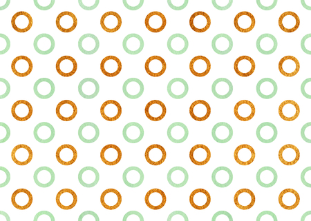 acryl: Watercolor mint green and acryl golden circles on white background.