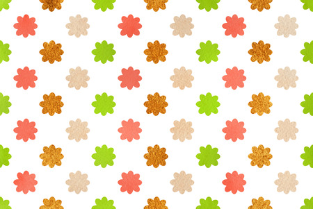 acryl: Watercolor lime green, salmon pink, beige and acryl golden flowers pattern. Stock Photo