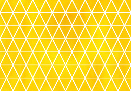 Watercolor yellow triangle pattern. Watercolor geometric pattern.