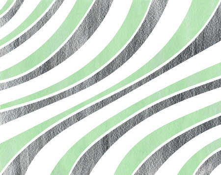 curved line: Watercolor mint and acryl silver striped background. Curved line pattern. Stock Photo