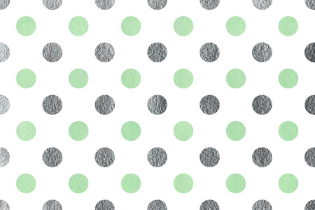 traditional silver wallpaper: Watercolor mint and acryl silver polka dot background. Pattern with polka dots for scrapbooks, wedding, party or baby shower invitations. Stock Photo