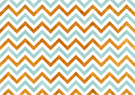 acryl: Watercolor blue and acryl golden stripes background, chevron.