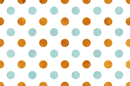 acryl: Watercolor blue and acryl golden polka dot background. Pattern with polka dots for scrapbooks, wedding, party or baby shower invitations.