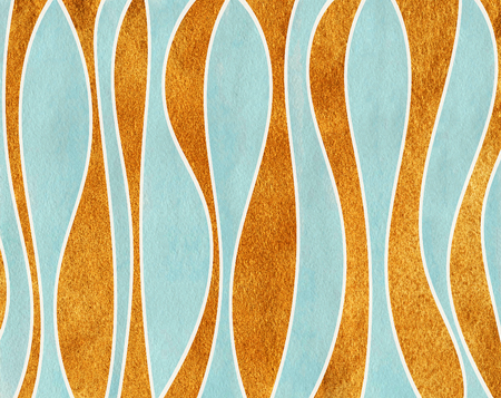 curved line: Watercolor blue and acryl golden striped background. Curved line pattern.
