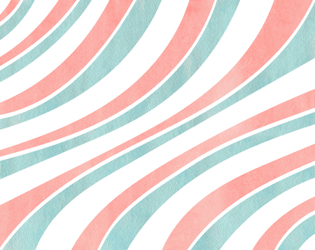 curved line: Watercolor light pink and blue striped background. Curved line pattern. Stock Photo