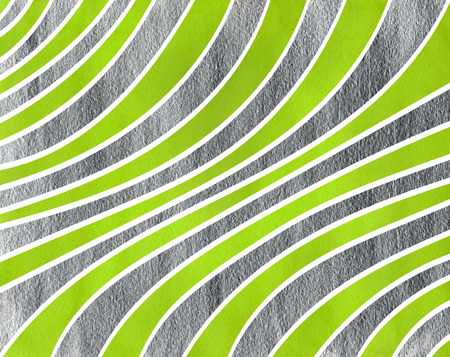 curved line: Watercolor lime green and acryl silver striped background. Curved line pattern.