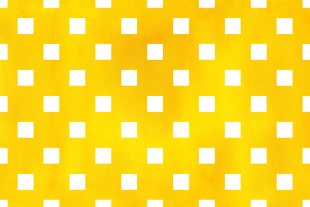 Watercolor yellow square pattern. Geometrical traditional ornament for fashion textile, cloth, backgrounds.