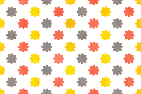 gray flower: Watercolor yellow, salmon pink and gray flower pattern. Stock Photo