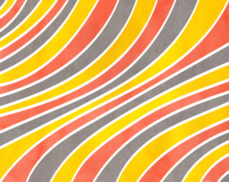 curved line: Watercolor yellow, salmon pink and gray striped background. Curved line pattern. Stock Photo