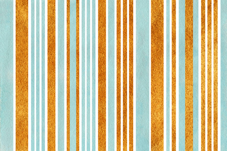 acryl: Watercolor blue and acryl golden striped background. Stock Photo