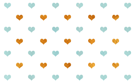 acryl: Watercolor blue and acryl golden hearts on white background pattern.