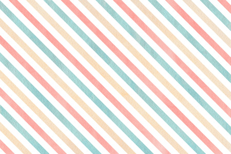 striped background: Watercolor pink, beige and blue striped background. Watercolor geometric pattern. Stock Photo
