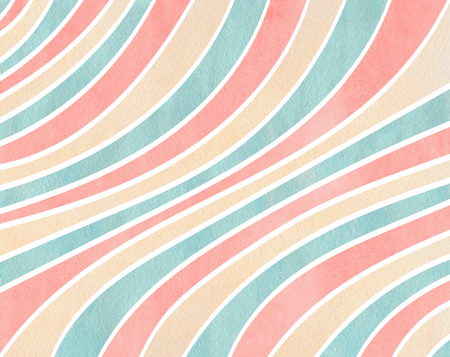 curved line: Watercolor pink, beige and blue striped background. Curved line pattern. Stock Photo