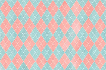 checked: Watercolor light pink and blue diamond pattern. Geometrical traditional ornament for fashion textile, cloth, backgrounds.