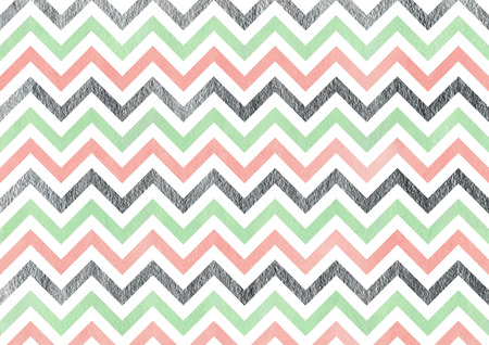acryl: Watercolor pink, mint green and acryl silver stripes background, chevron. Stock Photo