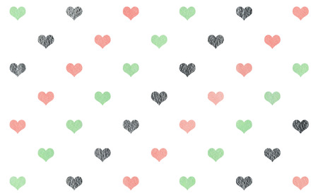 Watercolor pink, mint green and acryl silver hearts on white background pattern.