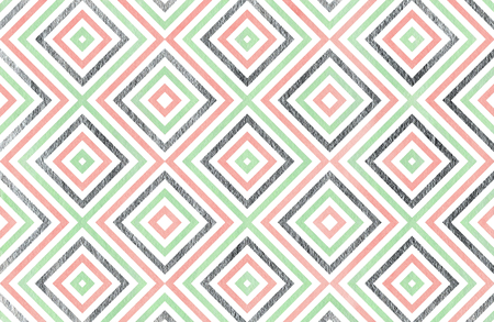 acryl: Watercolor geometrical pattern in pink, mint green and acryl silver color. For fashion textile, cloth, backgrounds. Stock Photo