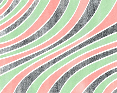 curved line: Watercolor pink, mint green and acryl silver striped background. Curved line pattern.