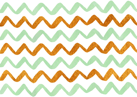 Watercolor mint green and acryl golden hand painted stripes pattern, chevron.