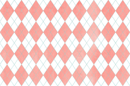 Watercolor light pink and blue diamond pattern. Geometrical traditional ornament for fashion textile, cloth, backgrounds.